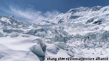 beautiful glacier on the sapu snow mountains against a blue sky, one of the sacred mountains of bon religion, biru county, nagqu prefecture, tibet ,China