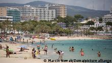 June 29, 2021, Magaluf, Balearic Islands, Spain: Magaluf, Spain. Mostly German holidaymakers enjoy the sunshine and beaches in Magaluf. Balearic Islands will go on the UK 'green list' from tomorrow, 4am. Prime Minister of Spain, Pedro Sanchez announced the new rules for Brits coming to Mallorca, Ibiza and other Balearic Islands. Brits willing to visit must have show a proof of vaccination or negative PCR test. (Credit Image: © Marcin Nowak/London News Pictures via ZUMA Wire