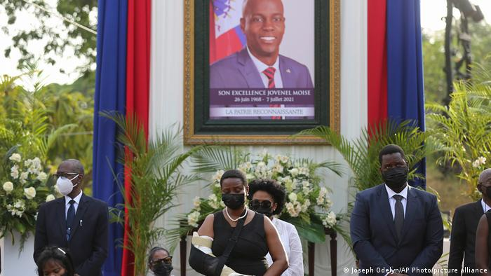 Martine Moise attends a tribute for her late husband President Jovenel Moise