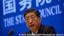 22.07.21 *** Zeng Yixin, Vice Minister of China's National Health Commission, speaks at a press conference at the State Council Information Office in Beijing, Thursday, July 22, 2021. Zeng said Thursday he was taken aback by the World Health Organization's plan for the second phase of a COVID-19 origins study. (AP Photo/Mark Schiefelbein)