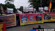 Description: East Bengal club is going through a crisis over sponsorship agreement. Large number of fans protested near the club yesterday on 21 July asking the executive board to sign the agreement with the sponsor as early as possible. Keywords: East Bengal, fans, protest, agreement, sponsorship, club, football, kolkata. Where it was taken: Kolkata Copyright: Payel Samanta