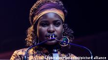 Hilda Nakabuye on stage at CARE International's #March4Women rally this International Women's Day for gender equality and climate justice on Sunday 8 March 2020 at Royal Festival Hall, London. . /LFI/Avalon. All usages must be credited Julie Edwards/LFI/Avalon.