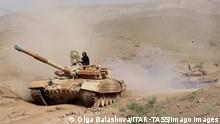 TAJIKISTAN - JULY 20, 2021: Tank units move from Russia s 201st military base in Dushanbe to the Harb-Maidon training ground situated near the border with Afghanistan. Video screen grab. Russian Defence Ministry/TASS PUBLICATIONxINxGERxAUTxONLY TS108A49
