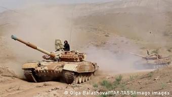 Российские танки на учениях в Таджикистане, июль 2021