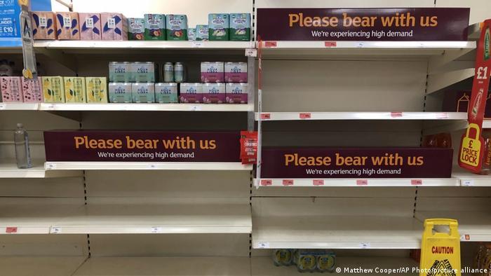 Empty drinks shelves at Sainsbury's in Rowley Regis in July, 2021