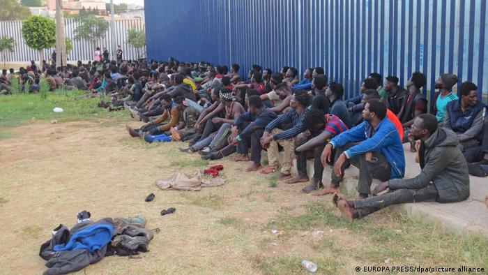 A group of migrants who scaled the Melilla fence are quarantined at a reception center, July 22, 2021.