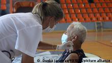 People receive COVID-19 vaccine at Baldekin Sports Hall in Sibenik, Croatia on July 20, 2021. Citizens interest for COVID-19 vaccination is declining. Photo: Dusko Jaramaz/PIXSELL