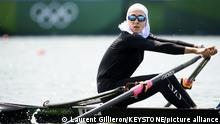 23.07.21 *** Nazanin Malaei of Iran competes in the women's rowing single sculls heat at the 2020 Tokyo Summer Olympics in Tokyo, Japan, on Friday, July 23, 2021. (KEYSTONE/Laurent Gillieron)