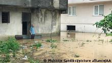 RIZE, TURKEY - JULY 22: A view of a flooded road as Arili stream overflowed after heavy rains damaging agricultural fields and roads in Findikli, Rize, Turkey on July 22, 2021. Muhittin Sandikci / Anadolu Agency