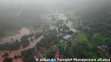 A photo showing an areal view of a flooded Indian village