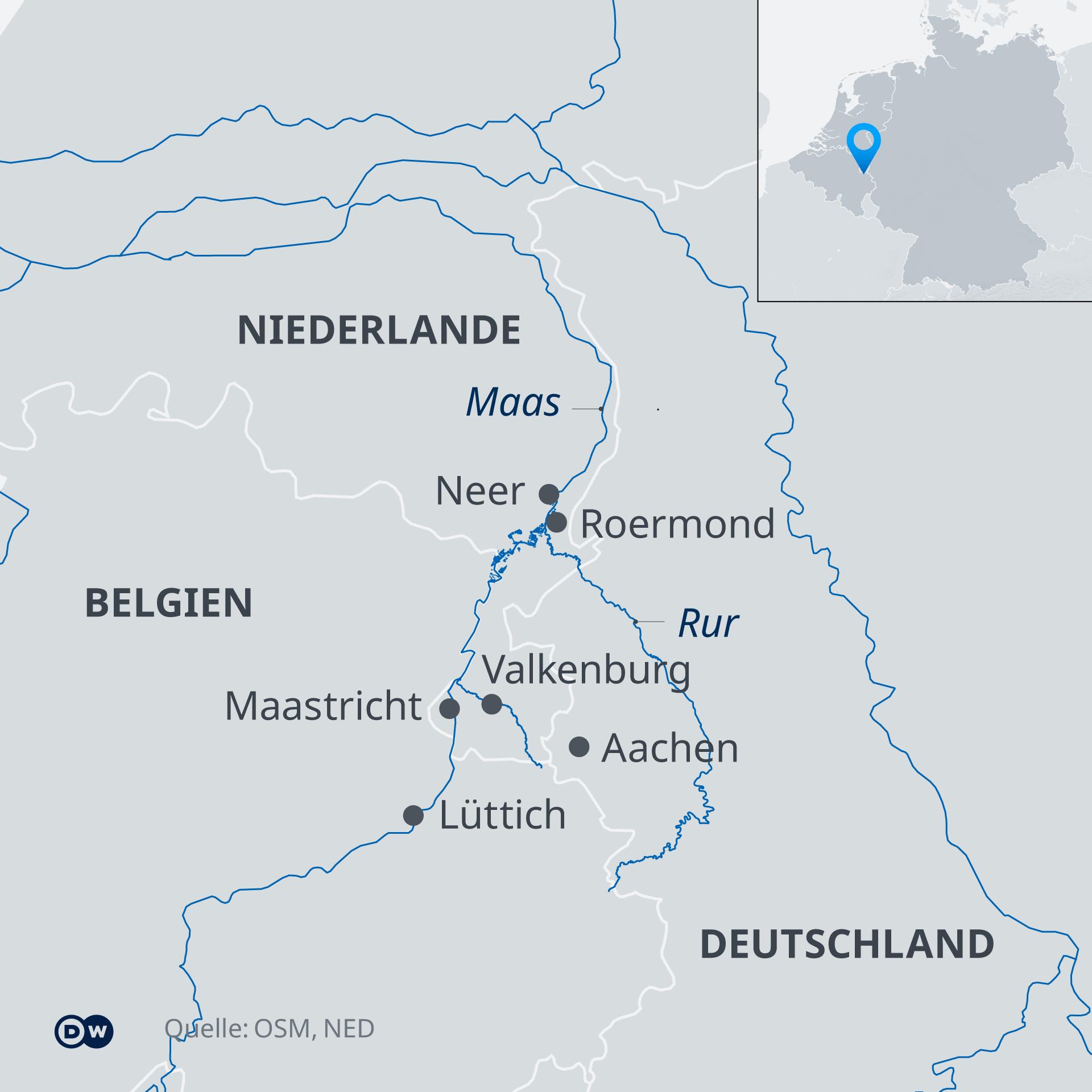 Karte - Hochwasser im Dreiländereck Niederlande, Belgien, Deutschland - DE