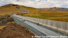 17.07.2021 VAN, TURKEY - JULY 17: A view of a the 3-kilometer section of the 63-kilometer modular concrete wall, which was started to be built on the Iranian border line in order to prevent illegal immigration, smuggling activities and prevent PKK, (listed as a terrorist organization by Turkey, the U.S. and the EU), from infiltrating the country in Van, Turkey on July 17, 2021. Mesut Varol / Anadolu Agency