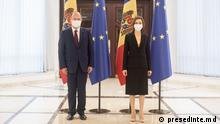 Moldawien, Chisinau - Die moldauische Präsidentin Maia Sandu und der rumänische Außenminister Bogdan Aurescu