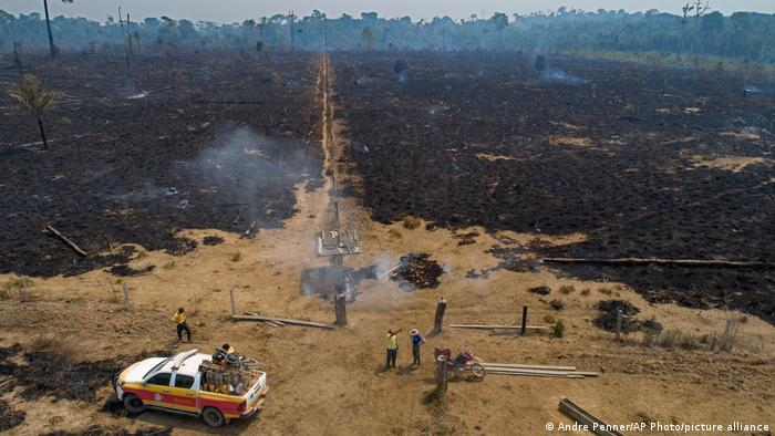 Workers from Brazil's state-run environment agency IBAMA speak with a farmer about an area consumed by fire near Novo Progresso, Para state, Brazil