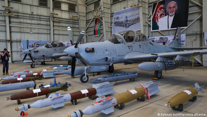 A-29 Super Tucano planes are on display during hand over from Resolute Support (RS) to Afghan army at the military Airport in Kabul, Afghanistan, Thursday, Sept. 17, 2020.