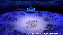 Tokyo 2020 Olympics - The Tokyo 2020 Olympics Opening Ceremony - Olympic Stadium, Tokyo, Japan - July 23, 2021. Performers are seen with the athletes during the opening ceremony REUTERS/Athit Perawongmetha
