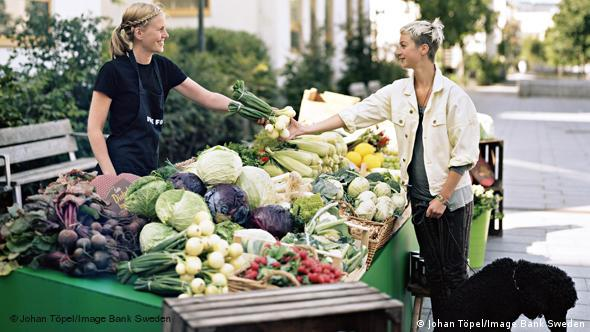 Women buying veggies at a farmer`s market in Stockholm