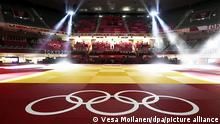 Olympic symbols at the Nippon Budokan, a venue for judo and karate events, in Tokyo on July 23, 2021. LEHTIKUVA / VESA MOILANEN - FINLAND OUT. NO THIRD PARTY SALES.