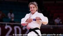 Kosovar Distria Krasniqi, wins gold medal in the judo category at the Olympic Games in Tokyo