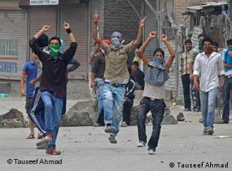 A group of Kashmiri protesters
