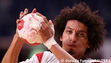 Tokyo 2020 Olympics - Handball - Men - Group B - Portugal v Egypt - Yoyogi National Stadium - Tokyo, Japan - July 24, 2021. Ali Mohamed of Egypt in action REUTERS/Gonzalo Fuentes