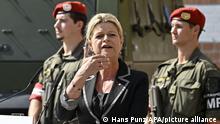 24.07.2021+++ABD0040_20210724 - WIEN - ÖSTERREICH: Verteidigungsministerin Klaudia Tanner (ÖVP) anl. einer gemeinsamen PK zu Aktuelle Themen am Samstag 24. Juli 2021 in Wien. - FOTO: APA/HANS PUNZ - 20210724_PD10751