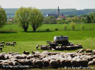A landscape and the town of Laucha, in Saxony-Anhalt, east Germany