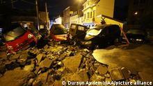 24.07.2021 DINANT, BELGIUM - JULY 24: Damaged cars are piled up in Belgium's Dinant after heavy rain and floods caused major damage on July 24, 2021. Dursun Aydemir / Anadolu Agency