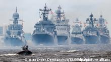 KRONSHTADT, ST PETERSBURG, RUSSIA - JULY 25, 2021: Warships take part in the main naval parade marking Russian Navy Day in the Gulf of Finland. Alexander Demianchuk/TASS