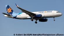 14.09.2020 An Israir Airbus A320 lands at London Heathrow Airport, England on Monday 14th September 2020. (Photo by Robert Smith/MI News/NurPhoto)