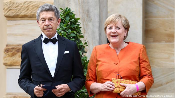Angela Merkel and her husband Joachim Sauer at the Wagner festival in Bayreuth in 2021
