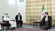Qatar Außenminister, Mohammed bin Abdulrahman Al Thani besucht in Teheran neu gewählte iranischen Staatspräsident Ibrahim Raisi.