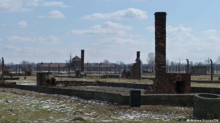 Unter einem blauen Himmel mit kleinen Wolken sind die Ruinen von Baracken und Schornsteinen des Konzentrationslagers Auschwitz-Birkenau zu sehen, im Hintergrund Stacheldrahtzäune und das langgestreckte Eingangsgebäude mit einem spitzen Turm in der Mitte