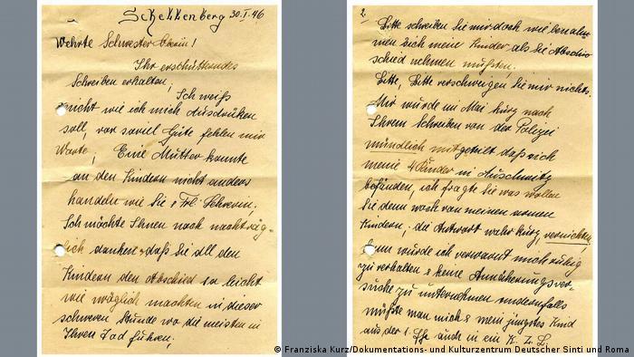 Blick auf die Fotos von zwei Seiten eines handgeschriebenen Briefes. Er trägt das Datum 30.1.46 und beginnt mit der Anrede Verehrte Schwester Oberin!