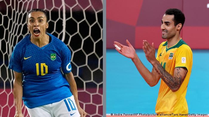Marta, estrela do futebol, e Douglas Souza, jogador de vôlei