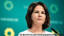 Annalena Baerbock, Bundesvorsitzende von Bündnis 90/Die Grünen, äußert sich bei einer Pressekonferenz im Anschluss an die Beratungen des Grünen-Bundesvorstandes. +++ dpa-Bildfunk +++