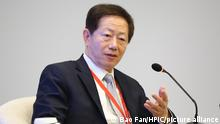 11-04.2018 --FILE--Mark Liu, Chairman of TSMC (Taiwan Semiconductor Manufacturing Co.), attends a sub-forum during the Boao Forum for Asia Annual Conference 2018 at the BFA International Convention Center in Boao, Qionghai city, south China's Hainan province, 11 April 2018. Taiwan Semiconductor Manufacturing Co. projected current-quarter revenue ahead of estimates as the Apple Inc. supplier shrugs off a smartphone slump and U.S. sanctions on Huawei Technologies Co. to ride demand for cutting-edge chips.