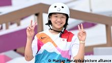 26.07.2021 Skateboard: Olympia, Vorkampf, Street, Frauen, Vorläufe, im Aomi Urban Sport Park. Momiji Nishiya aus Japan in Aktion.