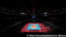 A general view during the men's volleyball preliminary round pool A match between Iran and Venezuela at the 2020 Summer Olympics, Monday, July 26, 2021, in Tokyo, Japan. (AP Photo/Manu Fernandez)