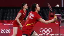 Tokyo 2020 Olympics - Badminton - Women's Doubles - Group Stage - MFS - Musashino Forest Sport Plaza, Tokyo, Japan – July 25, 2021. Wakana Nagahara of Japan in action during the match with Mayu Matsumoto of Japan against Rachel Honderich of Canada and Kristen Tsai of Canada. REUTERS/Leonhard Foeger