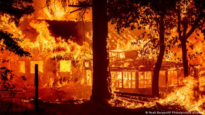 Flames devouring a home in the Indian Falls community in Plumas County in California