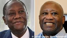 (COMBO) This combination of file pictures created on July 21, 2021, shows Ivory Coast's President and then presidential candidate Alassane Ouattara (L) during an interview at the presidential palace in Abidjan on October, 28, 2020; and former Ivory Coast's President Laurent Gbagbo (R) at the Ivorian Popular Front (FPI) offices in Abidjan on June 17, 2021. - Ivory Coast leader Alassane Ouattara will meet his predecessor and former rival Laurent Gbagbo on July 27, for their first talks since Gbagbo returned to the country after a nearly 10-year absence, the presidency said on July 21, 2021. The long-awaited talks are widely seen as a key to ending Ivory Coast's political crisis, as the two headed rival factions in a post-election conflict in 2010-11 that claimed several thousand lives. (Photo by Issouf SANOGO and Sia KAMBOU / AFP)
