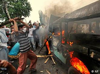 Protesters defied the curfew in Kashmir on Wednesday