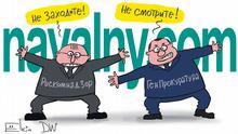 Sperre von Webseiten, die von Alexey Navalny und seinem Team betrieben wurden, in Russland. Bildbeschreibung: Zwei Männer, links aus Roskomnadzor (russische Behörde für Internetkontrolle) und Generalanwaltschaft stehen vor der Adresse navalny.com und schreien: Schauen Sie nicht! und Besuchen Sie's nicht!