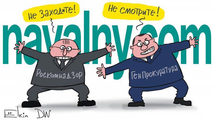 DW Karikatur Sergey Elkin l Russland - Sperre von Webseiten, die von Alexey Navalny und seinem Team betrieben wurden