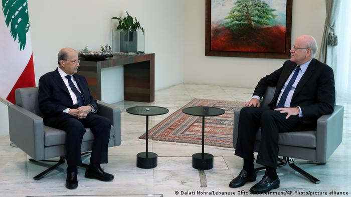 Libanon Präsidentenpalast | Michel Aoun, Präsident & Nadschib Miqati, ehemaliger Ministerpräsident