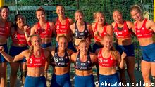 Handout photo - Norway's beach handball players were each fined 150 euros for wearing shorts rather than the required bikini bottoms. The team wore thigh-length elastic shorts during their bronze medal match against Spain in Bulgaria on Sunday July 18, 2021 to protest against the regulation bikini-bottom design that the sport's Norwegian federation president called embarrassing. Photo by Norwegian Handball Federation via ABACAPRESS.COM
