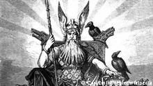 Wikipedia Odin, der Göttervater. Odin enthroned with weapons, wolves and ravens. Published in 1882. The signature seems to indicate it was made in 1880. Quelle: Wägner, Wilhelm. 1882. Nordisch-germanische Götter und Helden. Otto Spamer, Leipzig & Berlin. Page 7. UrheberCarl Emil Doepler (1824-1905) gemeinfrei