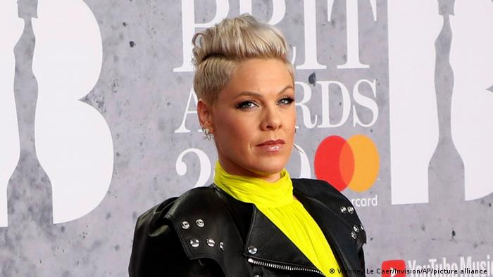 Singer Pink at the Brit Awards in London