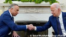 Премьер-министр Ирака Мустафа аль-Казыми и президент США Джозеф Байден в Белом доме